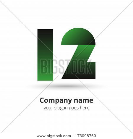 12 logo vector year concept. Anniversary number one two,1 and 2.  Logotype with green gradient color.