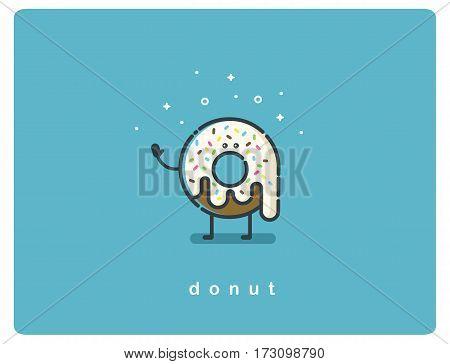 Vector flat chocolate donut cartoon character, food icon