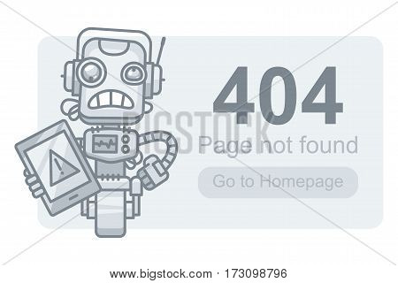 Vector Illustration, Concept Page Not Found Robot with Tablet, Format EPS 10