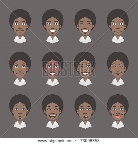 Vector Illustration, Set Emotions Black Business Woman, Format EPS 10