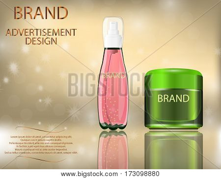 Facial Cream with Aloe Vera and Serum Lemon Extract for Skin on the sparckling Background Concept Skin Care Cosmetic. Mock-ups of glass container and cream jar. Blank template of packaging for cosmetic product.