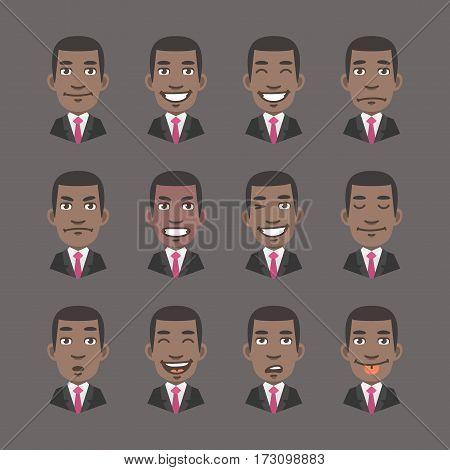 Vector Illustration, Set Emotions Black Man Businessman, Format EPS 10