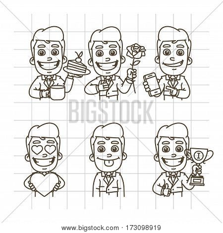 Vector Illustration, Businessman Holding Cup of Coffee, Cake, Flower, Rose, Mobile Phone, Heart, Cup, Format EPS 10