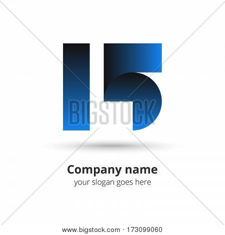 15 logo vector year concept. Anniversary number one five,1 and 5. Monogram numbers thirteen celebrating. Logotype with blue gradient color.