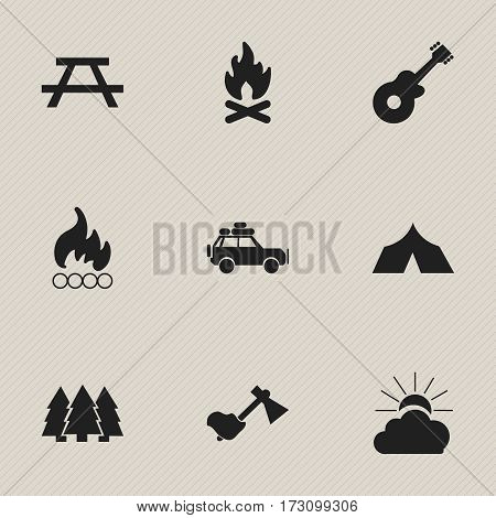 Set Of 9 Editable Camping Icons. Includes Symbols Such As Musical Instrument, Ax, Refuge And More. Can Be Used For Web, Mobile, UI And Infographic Design.