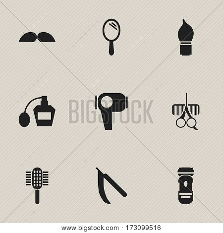 Set Of 9 Editable Tonsorial Artist Icons. Includes Symbols Such As Scrub, Reflector, Hairdresser Set And More. Can Be Used For Web, Mobile, UI And Infographic Design.