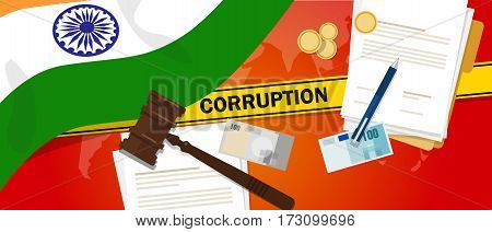 India fights corruption money bribery financial law contract police line for a case scandal government official vector