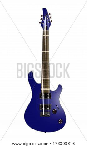 Beautiful rock electric guitar in color on a white background