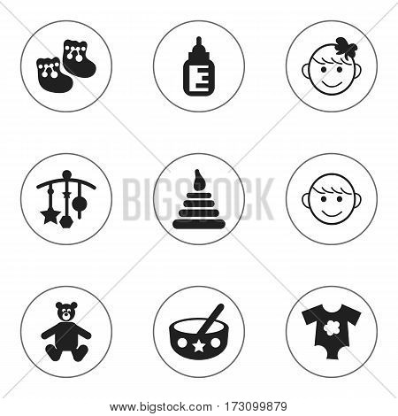 Set Of 9 Editable  Icons. Includes Symbols Such As Cheerful Child, Nursing Bottle, Small Dresses And More. Can Be Used For Web, Mobile, UI And Infographic Design.