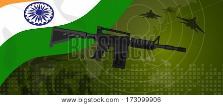 India military power army defense industry war and fight country national celebration with gun soldier jet fighter and radar vector
