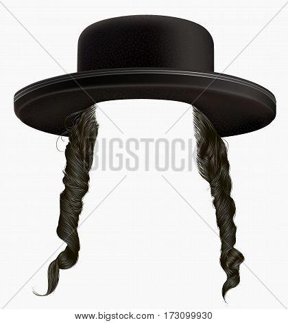 black  hair sidelocks . mask wig jew hassid in hat .