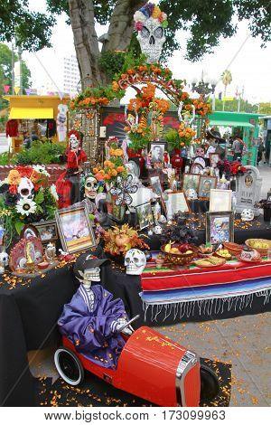 LOS ANGELES, USA OCT 23, 2013: altar for the deads at Olvera street in los Angeles, USA. The mecican traditional culture is still alive in that typical mexican street in downtown Los Angeles.