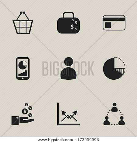 Set Of 9 Editable Statistic Icons. Includes Symbols Such As Profit, Bank Payment, Schema And More. Can Be Used For Web, Mobile, UI And Infographic Design.
