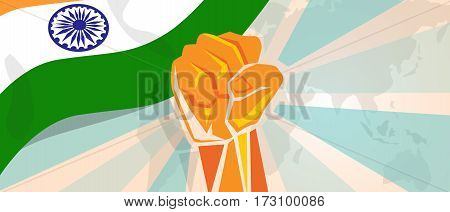 India fight and protest independence struggle rebellion show symbolic strength with hand fist illustration and flag vector