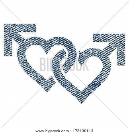 Linked Gay Hearts vector textured icon for overlay watermark stamps. Blue jeans fabric vectorized texture. Symbol with scratched design. Blue ink rubber seal stamp with fiber textile structure.