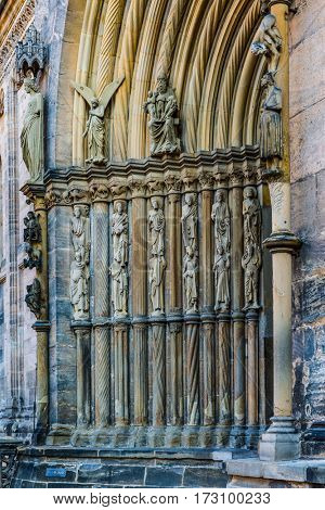 Fuersten gate with the stone statues of Ecclesia and Synagoga flanking the arched portal in religious depictions of the Church and Synagogue on the Bamberg Cathedral, Bamberg, Germany