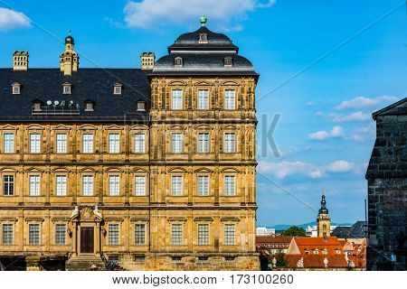 Historic Facade of the Neue Residenz (New residence) in Bamberg, Germany