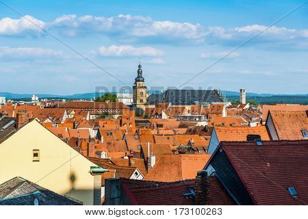 Rooftops of medieval city of Bamberg, Germany. A large part of the town has been a UNESCO World Heritage Site since 1993
