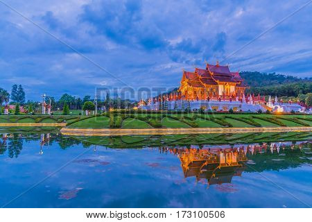 Thai Style Building In Royal Flora Temple .