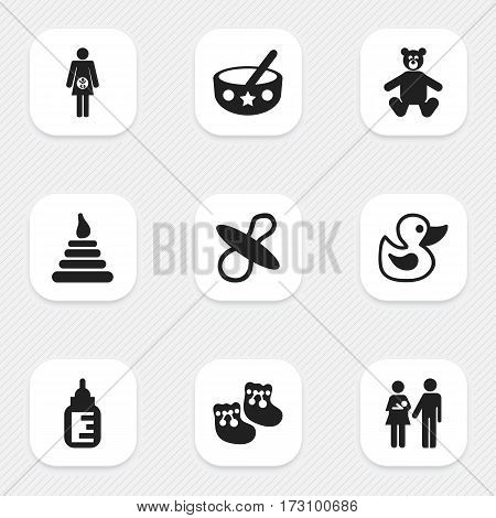 Set Of 9 Editable  Icons. Includes Symbols Such As Nursing Bottle, Pregnancy, Shoes For Babies And More. Can Be Used For Web, Mobile, UI And Infographic Design.