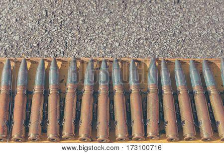 Bullet Line On Steel Rack.
