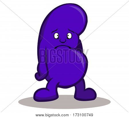 A Vector illustration of sad kidney ,
