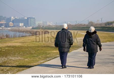 Elderly couple walking around in a beautiful sunny day