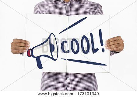 People Holding Banner Cool Awesome Word