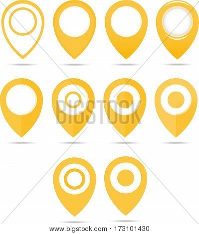 Set Of 12 Yellow Geo Pins. Geolocation Signs Set. Geolocate And Navigation Sign.