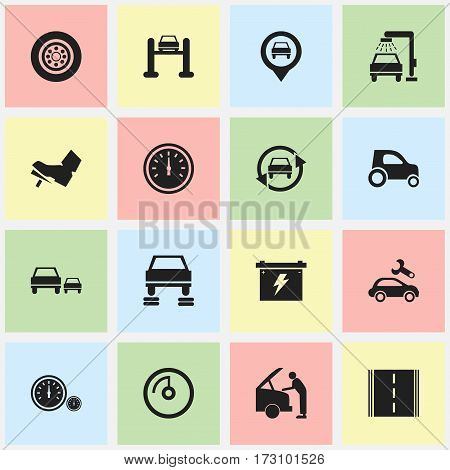 Set Of 16 Editable Vehicle Icons. Includes Symbols Such As Battery, Highway, Tire And More. Can Be Used For Web, Mobile, UI And Infographic Design.