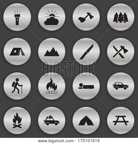 Set Of 16 Editable Travel Icons. Includes Symbols Such As Tepee, Sunrise, Lantern And More. Can Be Used For Web, Mobile, UI And Infographic Design.