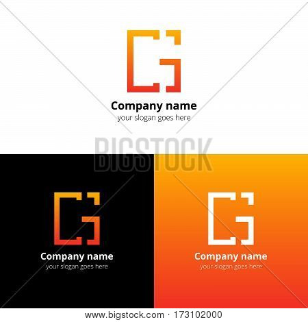 Letter GC logo, icon flat and vector design template. Trend orange gradient color on white and black background. Minimalism monogram symbol in vector for company.