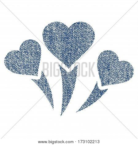 Love Heart Fireworks vector textured icon for overlay watermark stamps. Blue jeans fabric vectorized texture. Symbol with scratched design. Blue ink rubber seal stamp with fiber textile structure.