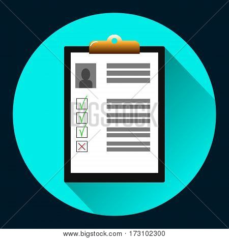 Clipboard with man silhouette icon . Curriculum vitae, job application form with profile photo concept. Premium quality. Top view. Modern flat design graphic elements. Vector illustration.