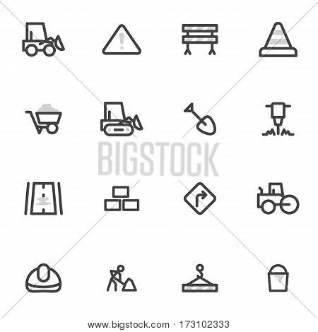 set of vector icons of road equipment, construction and repair of roads on a light background.