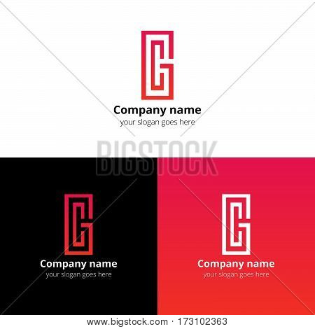 Letter CG logo, icon vector design template. Red-pink gradient color on white and black background. Minimalism monogram symbol in vector for company.