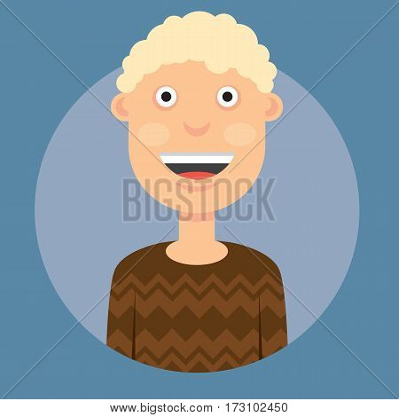 vector illustration of a man smiling with blond curly hair in a brown sweater on a dark blue background.