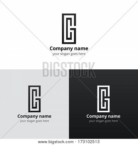 Letter CG logo, icon vector design template. Grey color on white and black background. Minimalism monogram symbol in vector for company.