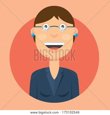 vector illustration cheerful girl with dark hair wearing glasses on a pink background.