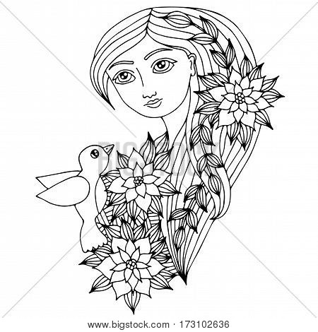 Portrait of a beautiful girl with long hair with bird flower and leaves. Mono color black line art element for adult coloring book page design.