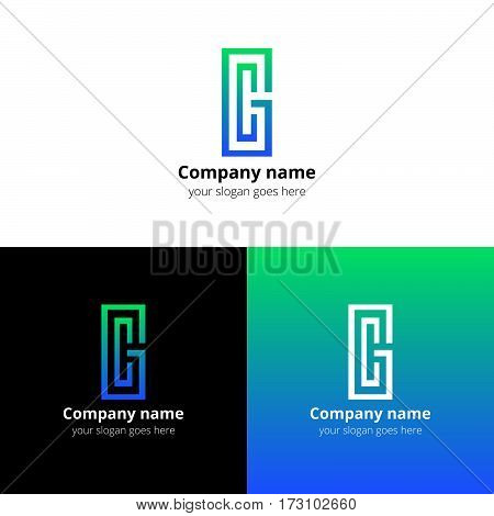 Letter CG logo, icon vector design template. Green-blue gradient color on white and black background. Minimalism monogram symbol in vector for company.