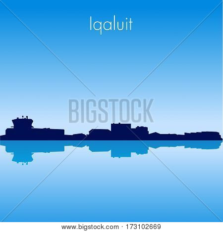 Iqaluit Canada Vector detailed skyline with reflexion