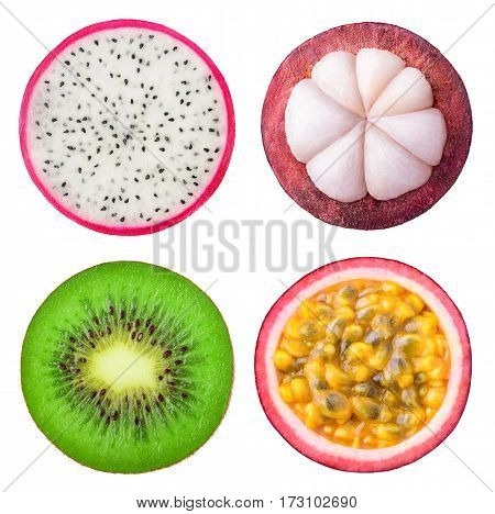 Isolated Tropical Fruits Slices