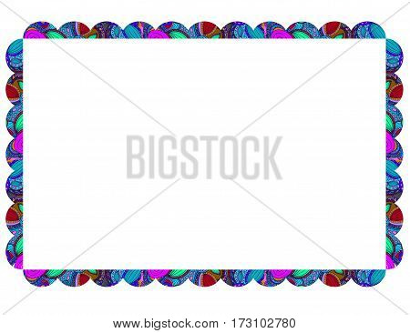 Blank colorful frame with doodle ornament on white