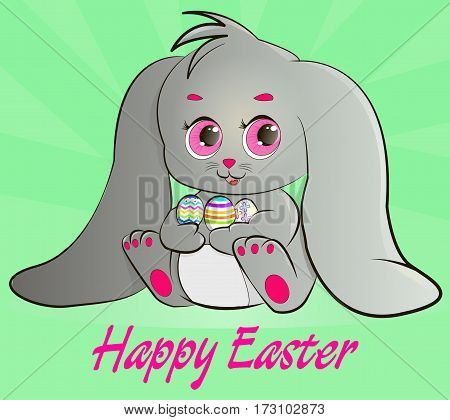 Happy Easter. Beautiful Easter Bunny sitting holding Easter eggs