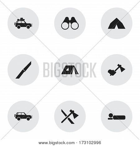 Set Of 9 Editable Camping Icons. Includes Symbols Such As Knife, Ax, Bedroll And More. Can Be Used For Web, Mobile, UI And Infographic Design.