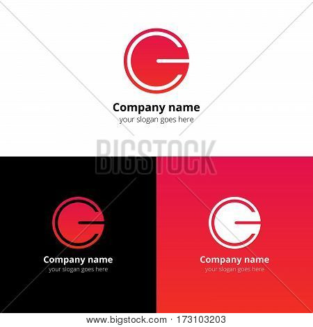 Letter CG logo icon flat and vector design template. Trend red-pink gradient color on white and black background. Minimalism monogram symbol in vector for company.