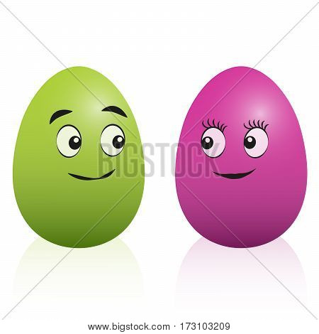 Easter egg comic couple with smiling faces - male green and pink female egg looking at each other. Isolated vector cartoon illustration on white background.