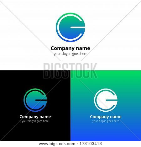 Letter CG logo icon flat and vector design template. Trend blue-green gradient color on white and black background. Minimalism monogram symbol in vector for company.