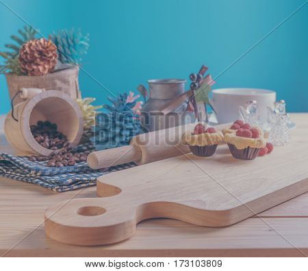 Blueberry Crumb Cake On Wood Table